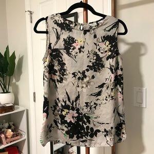 Floral Print Satin Sleeveless Top